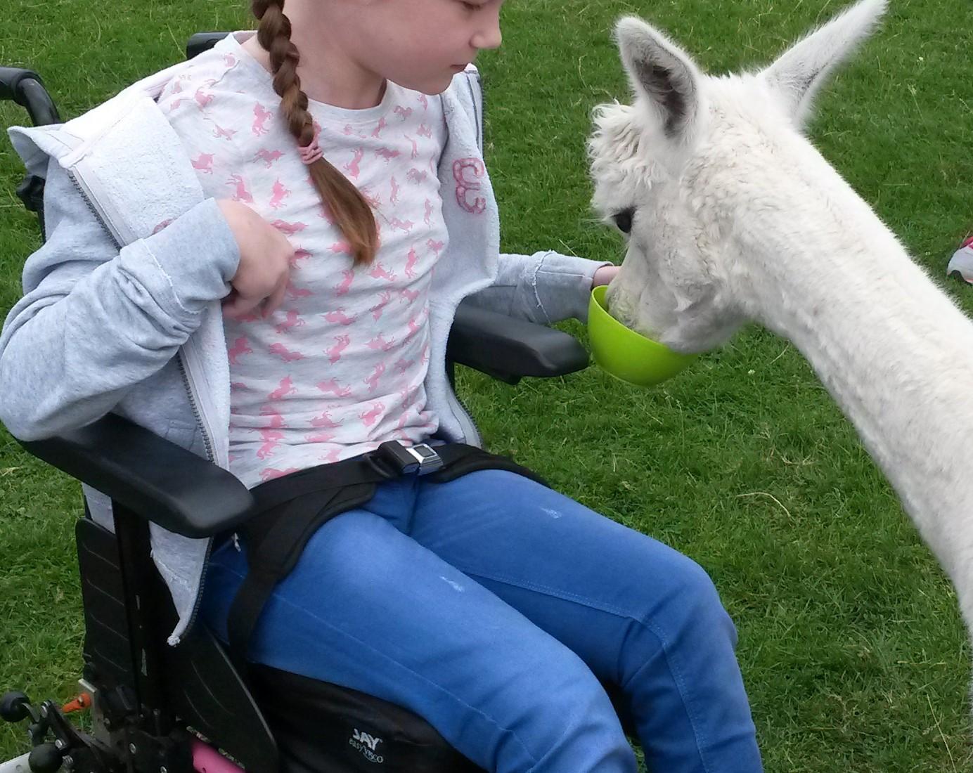 Feeding from wheelchair